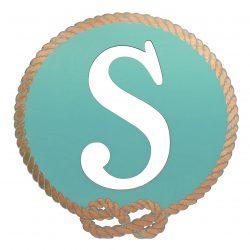 Better Letters Nautical Small-J-Aqua