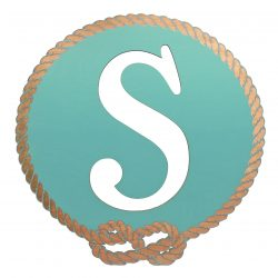 Better Letters Nautical Small-V-Aqua